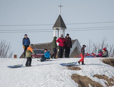 A crowd showed up to sled on the Seven Hills in St. Albert on Sunday Mar. 1, 2020. .(JOHN LUCAS/St Albert Gazette)