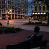 Tribune-Star/Austen Leake<br /> At a crossroads: The Max Ehrmann statue looks out on the intersection of 7th Street and Wabash Avenue which sits empty.