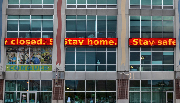 Tribune-Star/Austen Leake<br /> The Terre Haute Children's Museum's LED sign displays a message encouraging people to stay home.