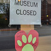 Tribune-Star/Austen Leake<br /> The Vigo County Historical Museum's front door has this message from Stiffy Green hung on it.