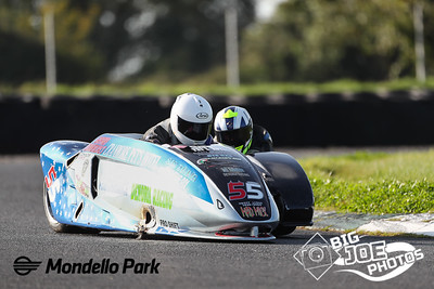 Peter O'Neill & Brian Butler at turn 4 Sidecar winner of Race 2 of the Dunlop Masters at Mondello Park Sept 20th 2020 Picture By Joe Connolly