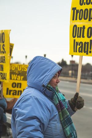 No War on Iran, WAMM Peace Vigil, Jan 8