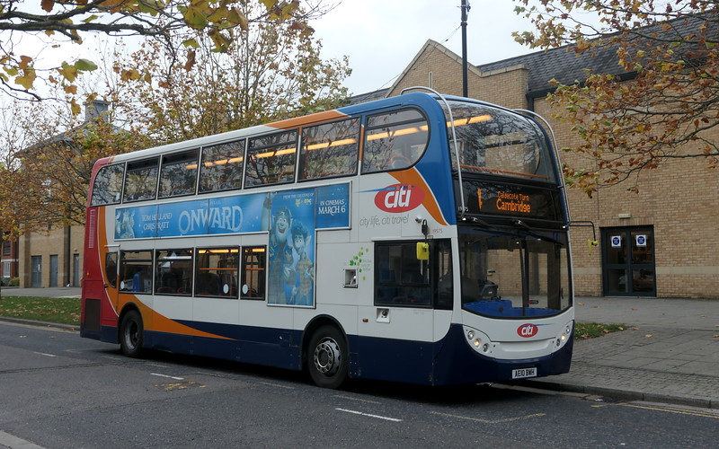 Stagecoach ADL Enviro 400 AE10BWH 19575 in Cambourne on Citi service 4 to Cambridge, 01.11.2020.