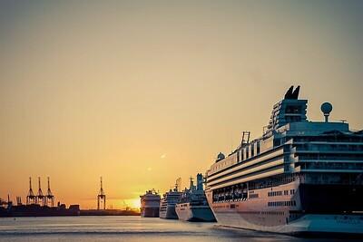 cruise ships sunset by Maxinne Garman 2020