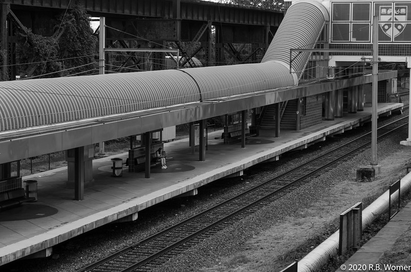 Waiting for the Airport Train BW.jpg