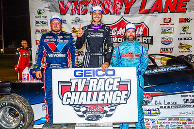 Brandon Sheppard (L), Kyle Larson (C) and Gregg Satterlee (R)