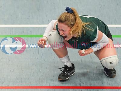 University of Edinburgh 3 v 1 University of St Andrews (25-16, 26-24, 20-25, 25-23), SSS Women's Cup Final, Institute of Sport and Exercise, University of Dundee, Sun 9th Feb 2020. © Michael McConville https://www.volleyballphotos.co.uk/2020/SCO/SSS/2020-02-09-sss-womens-final