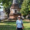 Anne at the stupa near Three Kings Statue