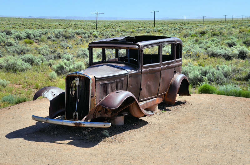 Remains of 1932 Studebaker where Route 66 ran