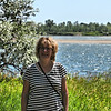 Anne along the Missouri River at Fort Mandan