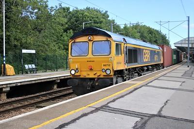66712 passes Hertford North at 1616/4E20 diverted Felixstowe to Masborough