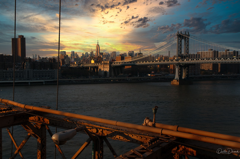Manhattan Bridge from Brooklyn Bridge - New York