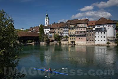 Altstadt Olten mit Stadtturm , alte Holzbrücke und Aare © Patrick Lüthy/IMAGOpress.com