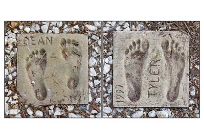 Dean and Tyler's Concrete Foot Prints Circa 1997