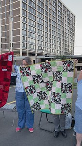 Heartwarmers Project quilt donations 09 2021.  Parking lot collection.