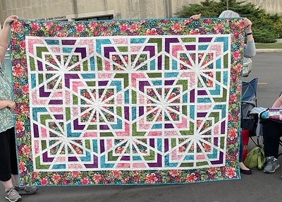Lynda Patriarche showing her completed Astrid.  A pattern from GE Designs.