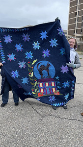 Sharon Wexler and her Blue Moon Quilt