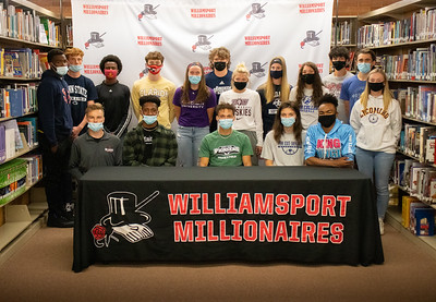 """Standing from left: Ry'meer Brown, track and field, Shippensburg University; J. Henry Lyon, track and field, Penn State University; Shaheem Hill, track and field, Bloomsburg University; Jack Beattie, diving, Clarion University; Isabelle Griswold, swimming and softball, Chatham University; Derek Gehr, baseball, Juniata College; Jayla Bartholomew, softball, Bloomsburg University; Avery Eiswerth, softball, Lycoming College; Hailey DeBrody, softball, Pennsylvania College of Technology; Gavin Furey, track and field and cross country, Lock Haven University; Michael Collyer, baseball, Messiah University; and Jackie Snyder, softball, Lycoming College.   Sitting from left: Alex Norris, tennis, Pennsylvania College of Technology; Max Goode, track and field, Point Park University; Trey Eiswerth, track and field, Point Park University; Jessica Robinson, basketball, Penn State University-Shenango; and Allen """"Tre"""" Taylor, track and field, Penn State University.  Not pictured: Mary Katherine Hillman, tennis, Pennsylvania College of Technology; and Amy Jarvis, swimming, Chatham University."""