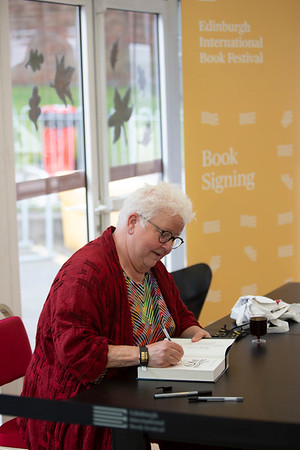Val McDermid signs copies of 1979, her new novel at the 2021 Edinburgh International Book Festival