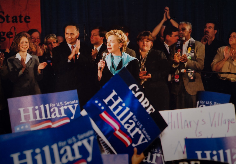 Hillary Clinton on campus while running for senate for 150th anniversary celebration at SUNY Buffalo State College.