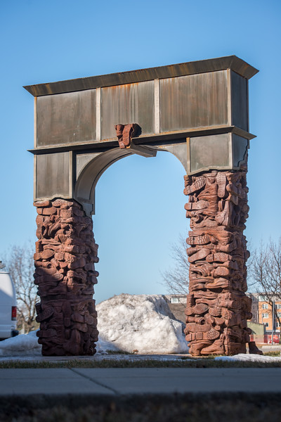 """""""Arc de Boot"""" sculpture  by William Hoffman, '05, outside Clinton Center at SUNY Buffalo State College."""