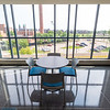 Interior scene of large window in Technology Building at SUNY Buffalo State College.