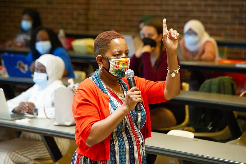 Director of Field Education Karen Edmond teaching social work field experience class at SUNY Buffalo State College.
