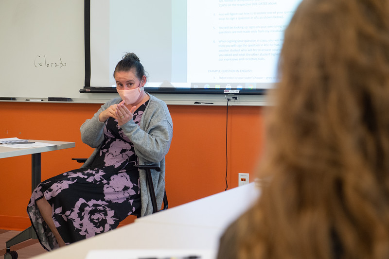 Lecturer Amy Crockford's American Sign Language class at SUNY Buffalo State College.