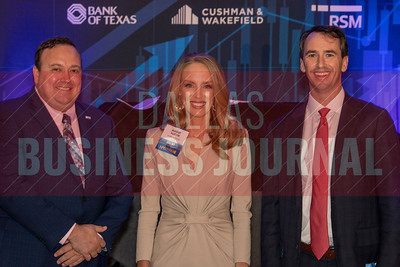 Josh Kettner of RSM, Mandy Austin from Bank of Texas, and Robbie Baty, from Cushman & Wakefield, Middle Market 50 sponsors.