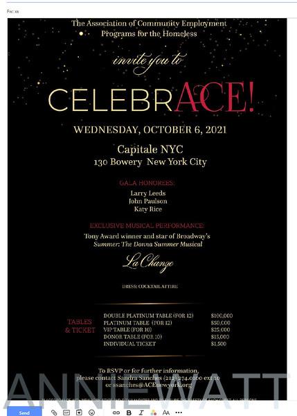 ACE awards invitation - Oct 6, 2021
