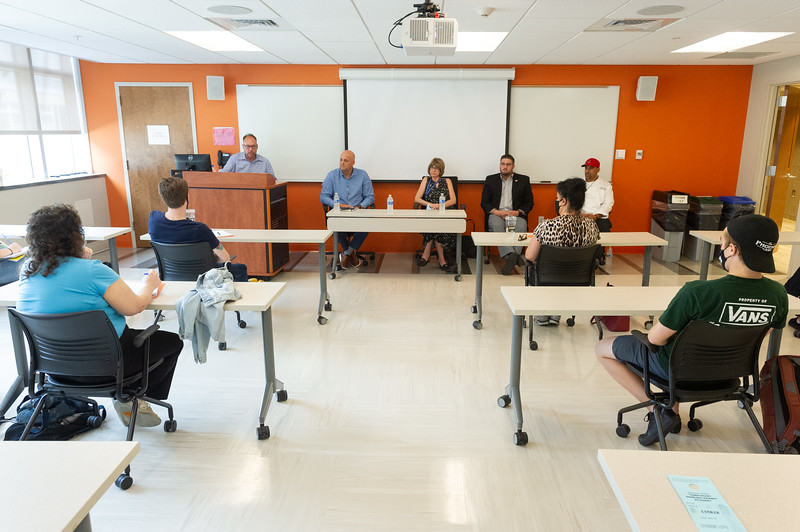 Looking professional panel discussion during Hospitality and Tourism Rise Up program at SUNY Buffalo State College.