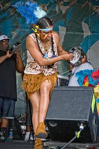 DA115,DJ,The Black Seminoles and Mardi Gras Indians Jammin at Jazz Fest in New Orleans