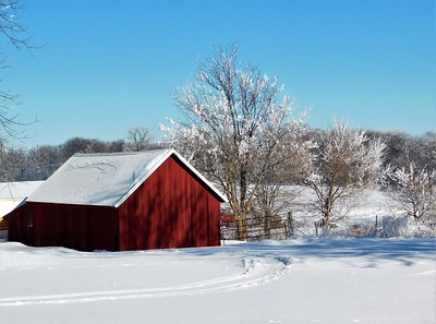 DA104,DT,Red Barn in Rime Frost, Dubuque, Iowa