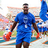 Florida Gators defensive lineman Zachary Carter #6 sprints into the stadium during pre-game as the Florida Gators open the 2021 season with a 35-14 win over the Florida Atlantic University Owls at Ben Hill Griffin Stadium in Gainesville, Florida on September 4th, 2021. (Photo by David Bowie/Gatorcountry)