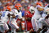 Florida Gators quarterback Emory Jones #5 scrambles for a first down as the Florida Gators open the 2021 season with a 35-14 win over the Florida Atlantic University Owls at Ben Hill Griffin Stadium in Gainesville, Florida on September 4th, 2021. (Photo by David Bowie/Gatorcountry)