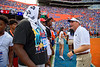 Florida Gators head coach Dan Mullen chatting with recruits before the game as the Florida Gators fall just short with a 31-29 loss to the #1 Alabama Crimson Tide at Ben Hill Griffin Stadium in Gainesville, Florida on September 18th, 2021. (Photo by David Bowie/Gatorcountry)