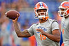 Florida Gators quarterback Anthony Richardson #15 throwing during pregame as the Florida Gators defeat SEC rival, the Tennessee Volunteers, 38-14 at Ben Hill Griffin Stadium in Gainesville, Florida on September 26th, 2021. (Photo by David Bowie/Gatorcountry)