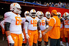 The Tennessee Volunteers prepare to take the field during pregame as the Florida Gators defeat SEC rival, the Tennessee Volunteers, 38-14 at Ben Hill Griffin Stadium in Gainesville, Florida on September 26th, 2021. (Photo by David Bowie/Gatorcountry)