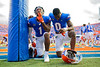 Florida Gators wide receiver Jacob Copeland #1 and Florida Gators safety Trey Dean III #0 take a knee in the endzone prior to kickoff as the Florida Gators defeat SEC rival, the Tennessee Volunteers, 38-14 at Ben Hill Griffin Stadium in Gainesville, Florida on September 26th, 2021. (Photo by David Bowie/Gatorcountry)