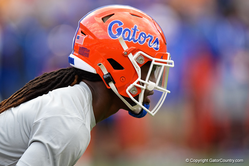 Florida Gators cornerback Jadarrius Perkins #27 during pregame as the Florida Gators host and defeat SEC rival, the Tennessee Volunteers, 38-14 at Ben Hill Griffin Stadium in Gainesville, Florida on September 26th, 2021. (Photo by David Bowie/Gatorcountry)