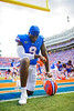 Florida Gators tight end Keon Zipperer #9 takes a knee in the endzone prior to kickoff as the Florida Gators defeat SEC rival, the Tennessee Volunteers, 38-14 at Ben Hill Griffin Stadium in Gainesville, Florida on September 26th, 2021. (Photo by David Bowie/Gatorcountry)