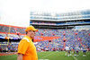 Tennessee Volunteers head coach Josh Heupel walks onto the field during pregame as the Florida Gators defeat SEC rival, the Tennessee Volunteers, 38-14 at Ben Hill Griffin Stadium in Gainesville, Florida on September 26th, 2021. (Photo by David Bowie/Gatorcountry)