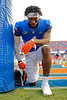 Florida Gators wide receiver Jacob Copeland #1 takes a knee in the endzone prior to kickoff as the Florida Gators defeat SEC rival, the Tennessee Volunteers, 38-14 at Ben Hill Griffin Stadium in Gainesville, Florida on September 26th, 2021. (Photo by David Bowie/Gatorcountry)
