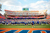 The Florida Gators come out for warms ups during pregame locked arm-in-arm as the Florida Gators defeat SEC rival, the Tennessee Volunteers, 38-14 at Ben Hill Griffin Stadium in Gainesville, Florida on September 26th, 2021. (Photo by David Bowie/Gatorcountry)