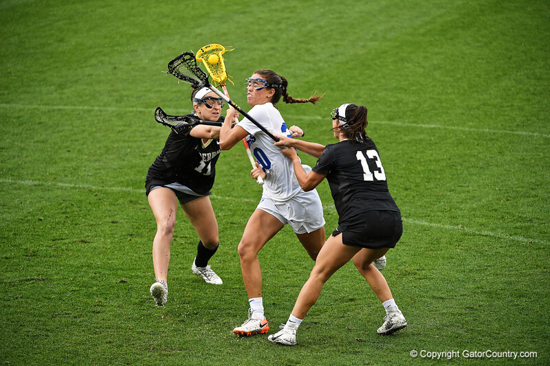 Florida Gators lacrosse attacker Brianna Harris drives toward the goal as the #10 ranked Gators defeat the #20 ranked Vanderbilt Commodores 22-9 at Donald R. Dizney Stadium in Gainesville, Florida on April 18th, 2021 (Photo by David Bowie/Gatorcountry)