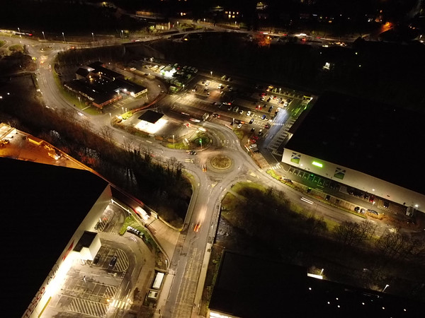 Galashiels UK Thursday 04 March 2021  Night over Bank Street and area  (Photo: Rob Gray)