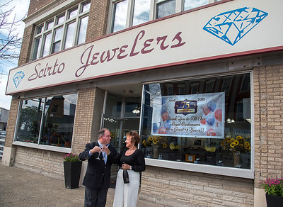 210920 Scirto James Neiss/staff photographer  Lockport, NY - Owner Tom Scirto and long time employee and Store Manager Debbie Williams are celebrating Scirto Jewelers 75th anniversary this year.
