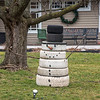 """210112 Enterprise 2<br /> James Neiss/staff photographer <br /> Lockport, NY - One has to wonder if this folkart tire snowman on Johnson Road was properly made out of """"snow tires."""""""