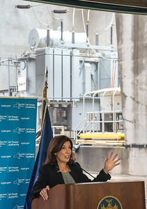 210922 NYPA Hochul 2 James Neiss/staff photographer  Lewiston, NY - New York State Governor kathy Hochul says a few words at a press conference inside the New York Power Authority where they announced the completion of a $460 million infrastructure upgrade project at the Lewiston Pump Generating Plant and the digitization of the first turbine unit under Next Generation Niagara.