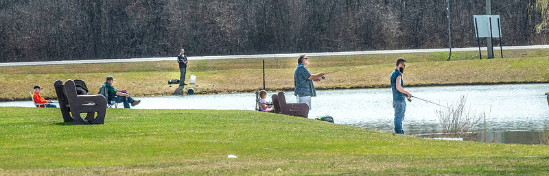210406 Oppenheim Enterprise 2 James Neiss/staff photographer  Wheatfield, NY - Fishermen enjoy the great outdoors at Oppenheim Park Lake.